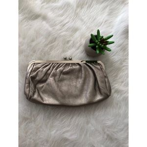 Express genuine leather light gold evening clutch